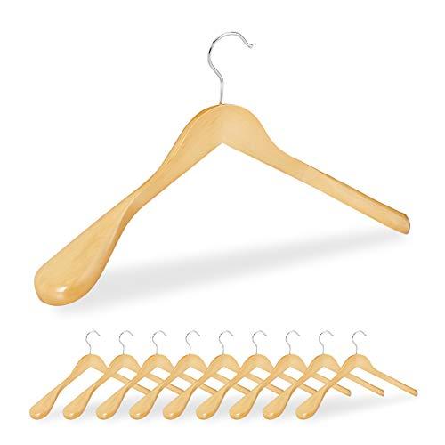 Relaxdays Pack de 10 Perchas Traje Anchas, para Chaquetas, Abrigos o Vestidos, Madera, 45 cm de Ancho, Marrón Claro