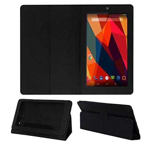 Acm Executive Case & Tempered Glass Combo Compatible with Micromax Canvas Tab P290 Flip Cover Screen Guard Black