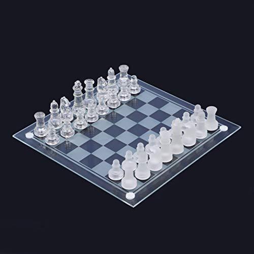 高級 クリスタル ガラス チェス 優美 25×25cm おしゃれ 対戦 ゲーム 2人 チェックメイト ポーン クイーン ナイト キング 相棒 sia122