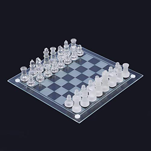 【Sialinxブランド】 高級 クリスタル ガラス チェス 優美 25×25cm おしゃれ 対戦 ゲーム 2人 チェックメイト ポーン クイーン ナイト キング 相棒 sia122