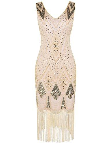 PrettyGuide Women 1920s 1920s Gatsby Cocktail Sequin Art Deco Flapper Dress M Gold Beige