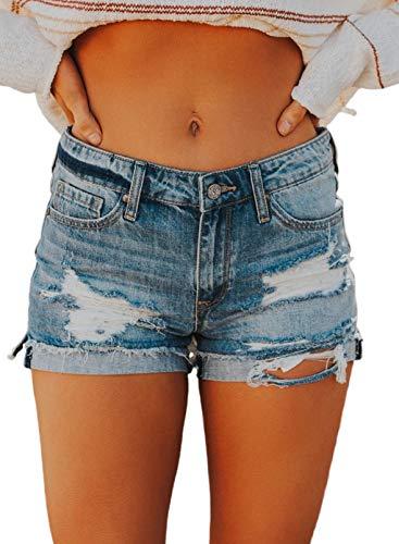 CORAFRITZ Pantalones cortos de mezclilla para mujer de moda con botones rasgados con cremallera lateral desgastado Split Raw Hem Jean Shorts