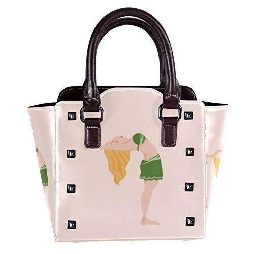 Nieten Leder Damen Handtaschen Crossbody Taschen Mode Rucksäcke für Shopping Arbeit Campus Schwarz Yoga Schulterständer