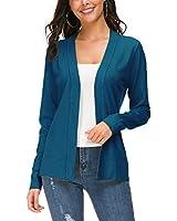 Urban CoCo Women's Long Sleeve Open Front Knit Cardigan Sweater (S, Indigo Blue)