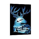 Weihnachtliches Rentier-Poster, dekoratives Gemälde,