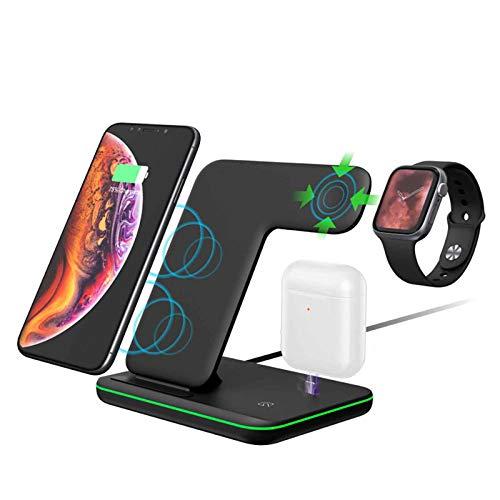 Basinnes Cargador Inalámbrico, Estación De Carga Rápida Qi 3 En 1Para Apple Watch Series 6/SE/5/4/3/2, Airpod Pro 2, iPhone 12/12 Pro/12 Pro Max/11/11Pro MAX/SE/X/XR/XS/XS MAX/8 Plus QI Phone,Negro