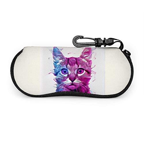 Funda suave para gafas de sol con mosquetón, tres perros de la suerte, ultraligera, portátil, de neopreno, con cremallera