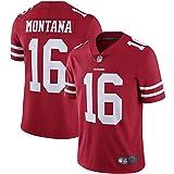 T-Shirt Manches Courtes Homme Uniforme De Football San Francisco 49Ers 16# Joe Montana Maillots Uniformes De Rugby T-Shirts, Ne Se Décolore Pas, Lavable en Machine, Sports De Plein Air,Rouge,L