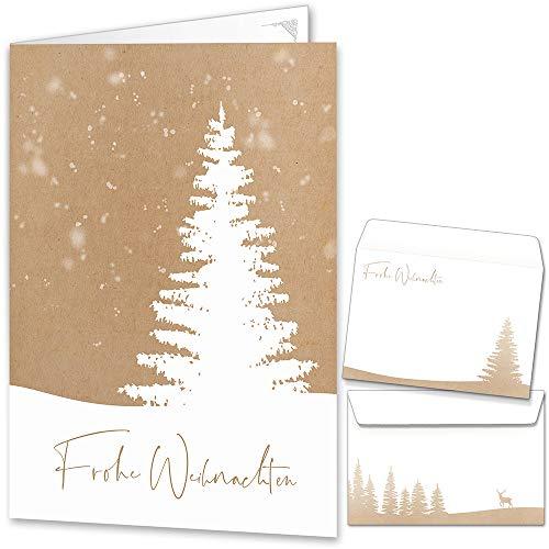 Weihnachtskarten mit Umschlägen (15er Set) - Klappkarten mit Weihnachtsbaum-Motiv für die schönsten Weihnachtsgrüße im Kraftpapier-Look - Frohe Weihnachten