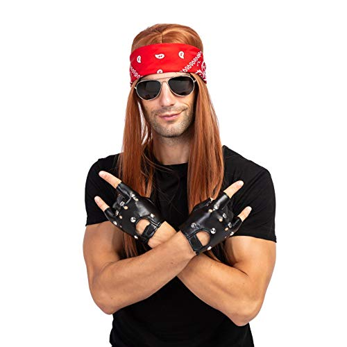 Spooktacular Creations Rockstar 90s Heavy Metal Rocker Costume with Wig, Gloves, Sunglasses and Bandanas Halloween Costumes for Men