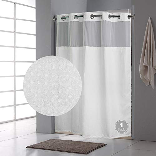 QKHook Fabric Shower Curtain with Snap in Liner Waffle Pattern 1 Pack 71x74 Inch Water Resistant