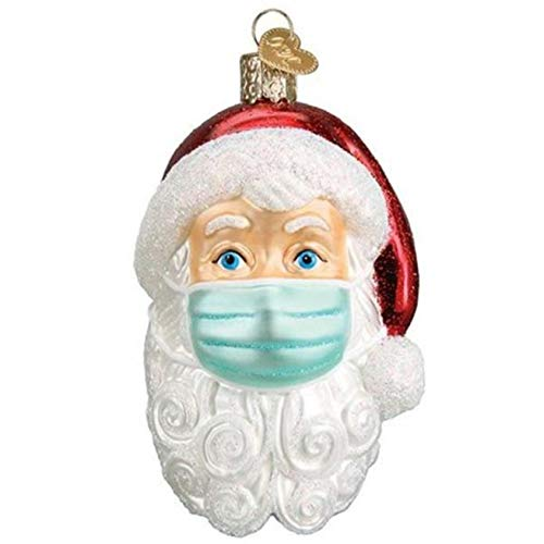 Kiallou 2020 Newest Christmas Holiday Decorations, Personalized Santa Ornament with Mask Cover, Xmas Tree Window Decor Hanging