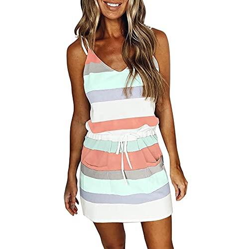jsadfojas Vestido de verano para mujer con cuello en V sin mangas a rayas patchwork correa de espagueti mini vestido casual con cinturón