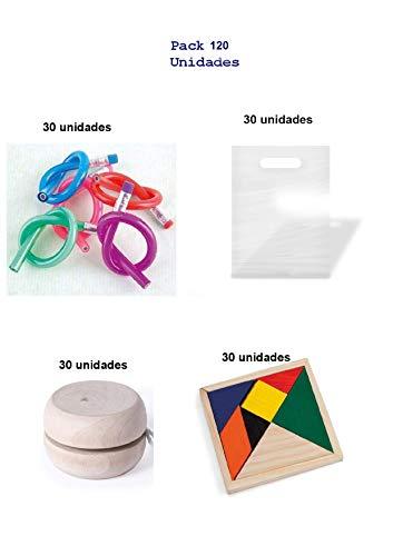 Lote de 90 unidades para regalos de cumpleaños infantiles para niños y niñas 30 lapices flexibles + yoyos de madera + puzzles ingenio