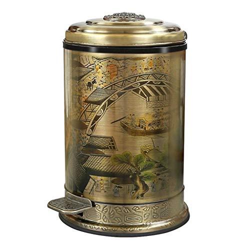 WXL Papelera estilo chino retro con pedal de pie, mango de metal de bronce de dos capas selladas, caja de basura para salón, cocina, baño, papelera (color : bronce, tamaño: 6L)