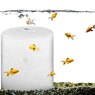 SunGrow Aquarium Filter Pad Roll - White High-Density Cotton Material - Aids in Keeping a Liveable Environment - Customizable Shape and Size - Economical - Suits All Enclosures