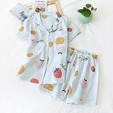 XFLOWR Cotton Lounge Sleepwear Summer Conjunto de Pijama para Mujer Ropa de Dormir de algodón de Manga Corta con Pantalones Cortos Suave Cómodo Suelto para Damas Ropa de hogar M Landifruit