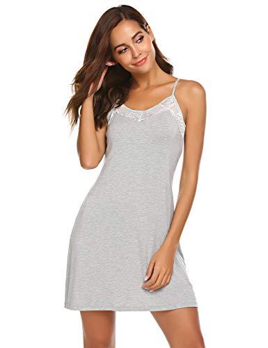 Meaneor_Fashion_Origin Damen Nachthemd Kurz Spaghettiträger Negligee Spitze Nachthemd V-Ausschnitt Nachtkleid Sexy Nachtwäsche Sleepwear (S(EU 34-36), Grau)
