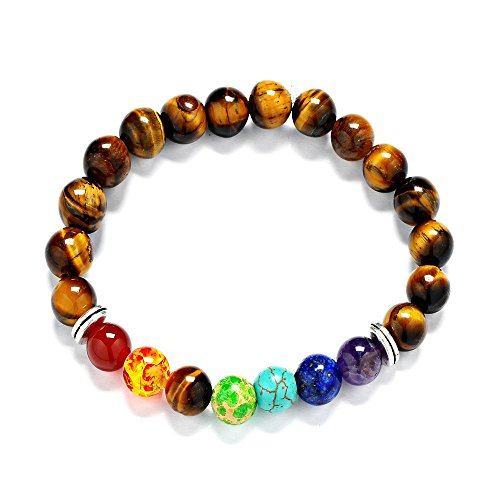 Price comparison product image Reizteko Men Women 8mm Lava Rock 7 Chakra Diffuser Bracelet Elastic Natural Stone Yoga Beads Bracelet Bangle (Tiger Eye)