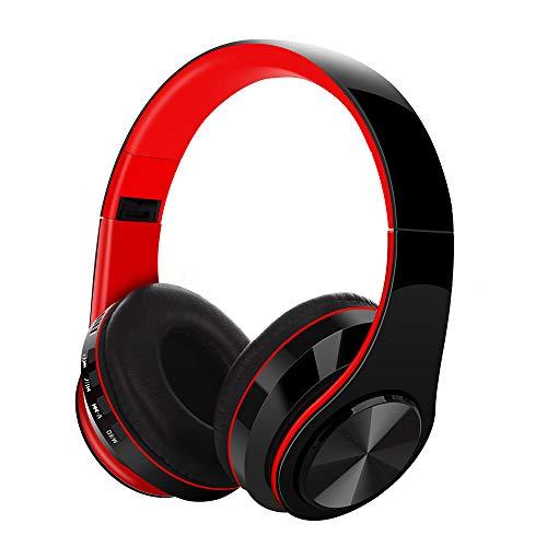 Noise Cancelling Kopfhörer Over Ear, Miya Leicht Faltbarer Kabellos Bluetooth 5.0 Ohrhörer Headset mit Mikrofon für Smartphones Tablets(Rot)