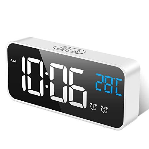 MOSUO Reloj Despertador Digital, LED Despertadores Electrónicos Espejo con Temperatura y 2 Alarma, Snooze, Sonido y Brillos Regulable, Carga USB para Dormitorio, Oficina, Blanco