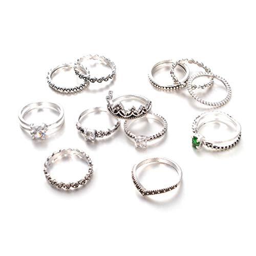 Holibanna Conjunto de 12 peças de anéis empilháveis de strass vintage retrô cristal junta anéis midi joia de dedo boêmio conjunto de anéis para meninas e mulheres