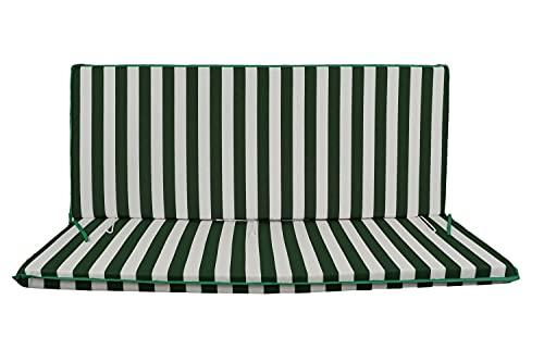 Cuscino Fasciato per dondolo 3 posti 135*55*6 cm imbottito e rivestito in cotone totalmente sfoderabile compreso di schienale e seduta (Bianco e verde)
