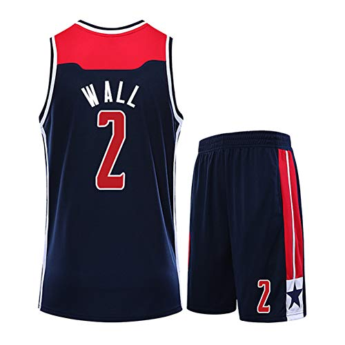 MRRTIME Wall 2 Beal 3 Parker 12 Kids Basketball Suit, for Wizards Fan Edition - Compétition vêtements d'entraînement Basketball Swingman Jersey Top sans Manches et Short-Black No.2-S