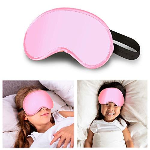 FLOWZOOM Schlafmaske Kinder | Augenmaske Kinder für Mädchen & Jungen (Farbe: Rosa)