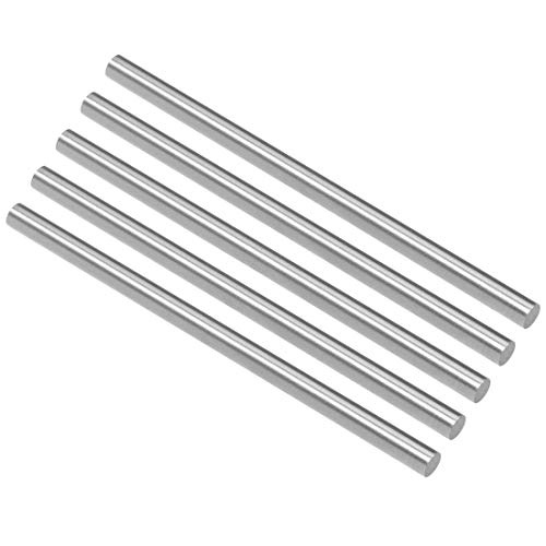 uxcell Round Steel Rod, 5.2mm HSS Lathe Bar Stock Tool 100mm Long, for Shaft Gear Drill Lathes Boring Machine Turning Miniature Axle, Cylindrical Pin DIY Craft Tool, 5pcs