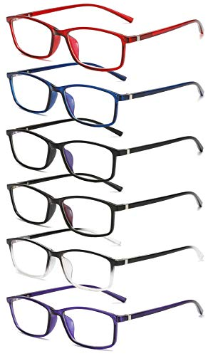 KOOSUFA Lesebrille Anti-Blaulicht Sehhilfe Lesehilfe Rechteckige Vollrandbrille Nerdbrille für Herren Damen von 1,0 1,5 2,0 2,5 3,0 3,5 4,0 (6 Farben Set, 2.0)
