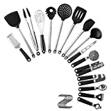 Dolity 16 Piece Stainless Steel Cooking Utensil Set, Kitchen Gadgets Cookware Set, Kitchen Tool Set with S Hooks