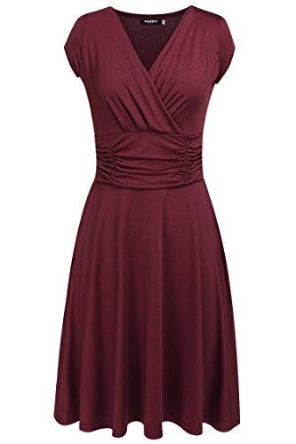 Zeagoo Damen V-Ausschnitt Wickelkleider Sommerkleider Partykleider Asymmetrischer Saum Festliche Kleider Abschlusskleider Ärmellos (EU 38/ M, Weinrot-2)