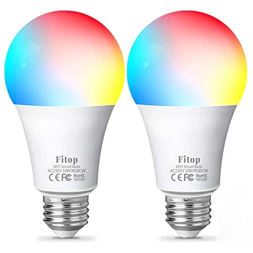 Lampadina Alexa WiFi E27, Fitop Lampadine Smart LED 10W 1000LM 90W Equivalente, Dimmerabile RGBCW Colore Cambiano Luci 2200K-6500K, Compatibile con Alexa/Google Home/Siri, 2 Pezzi