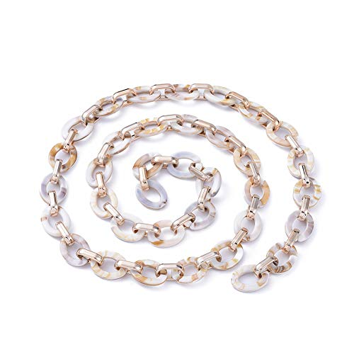 Stiesy 5 Strands Handmade Chunky Acrylic Linking Chains with CCB Beads Imitation Gemstone Style Cable Chains for Jewelry Making Hip Hot Pant Chian Making