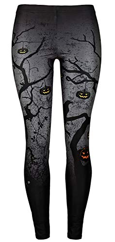 Sister Amy Women's Halloween Skull Pumpkin Skulls Printed Ankle Elastic Tights Legging G-Black Halloween US L