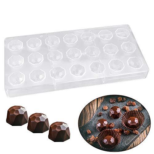 SNAGAROG Moldes de chocolate de policarbonato, moldes de plástico para caramelos, con 21 agujeros de rosca de medio tornillo reutilizables, bandeja de cubitos de hielo hecha a mano, transparen