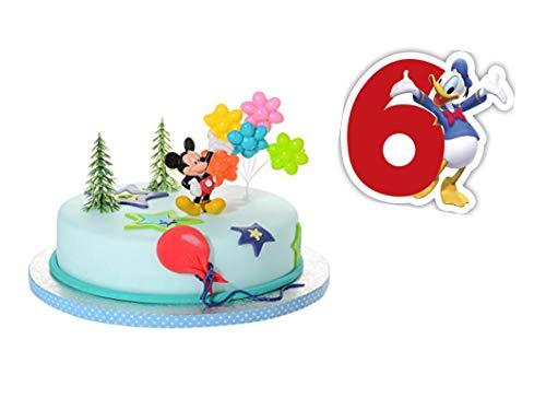 PDL Torten Deko Set 6.Geburtstag Mickey Mouse 5 teilig Junge Kindergeburtstag Torten Kerze Kuchendeko Tortenfigur Tortendeko