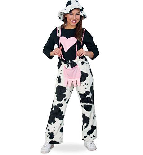 KarnevalsTeufel Damenkostüm-Set, 2-teilig Kuhhose mit Herz und Hut, schwarz - weiß   Größen: M, XL, XXXL   Tierkostüm, Karneval, Fasching (M)