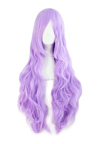 etruke longue Violet Clair Cheveux Anime Curly femmes Wave Cosplay Perruques