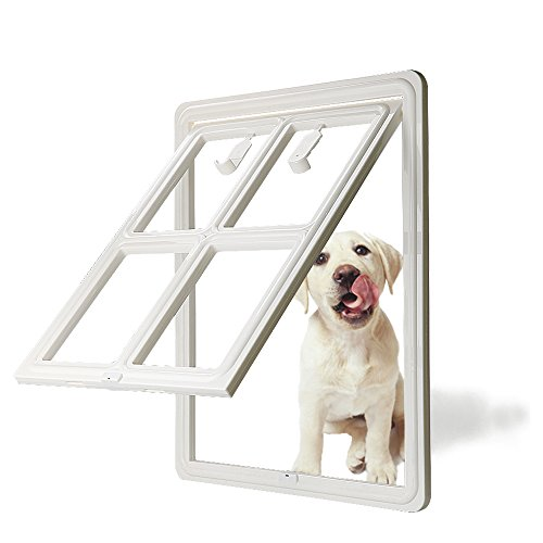 CEESC Dog Door for Sliding Screen Door, 3rd Upgraded Version Automatic Lock Pet Door for Dogs Puppies Cats, 3 Colors 5 Options (Large White-Inner Size: 15.75'(H) x 11.81'(W) x 0.79'(D))