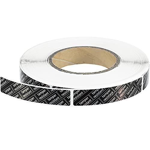 1000 Stück manipulationssichere metallisierte Etiketten Aufkleber Sicherheitssiegel manipulationssichere Etiketten groß schwarz mit weißer Tinte, 190 x 8,9 cm, rechteckig