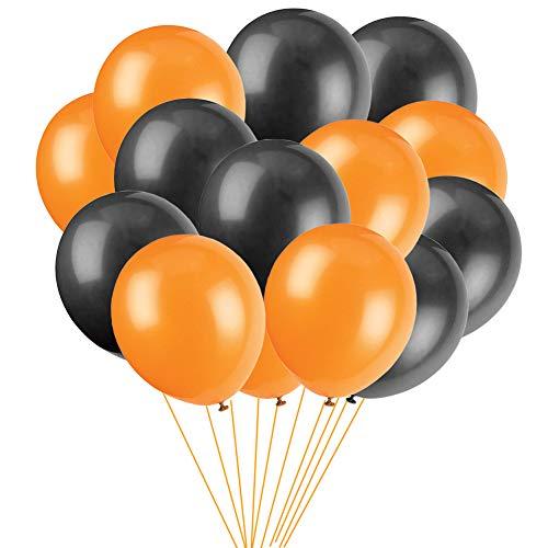 MAKFORT 100 Stück Luftballons Halloween Deko Schwarz und Orange 10