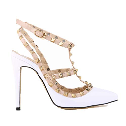 Women Pumps Stiletto Fashion sexy Hollow Rivets Stitching fine with high-Heeled Shoes Wedding 302-5PA White 11cm 6.5