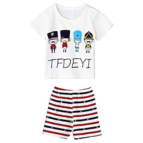 Alvivi Baby Jungen Mädchen Kleidung Set Cartoon Tier Druck Kurzarm T-Shirt Tops mit Shorts Kurze Hosen Sommer Set Jogginganzug Zwb Karikatur Soldat 104-110