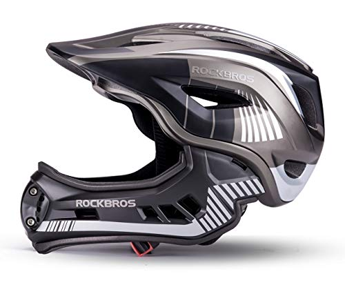 ROCKBROS Kinderhelm Integriert Fahrradhelm Kinder Jugend Fullface Helm mit Abnehmbarem Kinnschutz S 48-53cm M 53-58cm Downhill Helm
