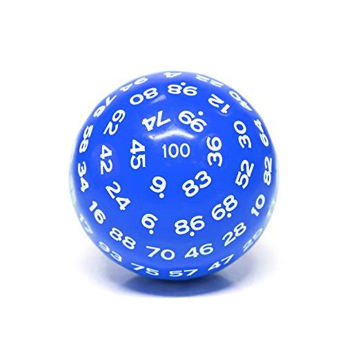 HD Dais Coloridos dados poliédricos de 100 caras (D100)   Color azul sólido, con numeración blanca (45 mm), para Dungeons and Dragons DND MTG RPG Poker Casino reemplazo con bolsa impermeable gris