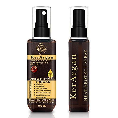 Just Peachy KerArgan Keratin Argan Oil Vitamin E Heat Protect Hair Styling Spray | For Dry Frizzy Unmanageable Hair | Detangling Spray | Free From Sulfates & Phospates | 100% VEGAN | 100ml