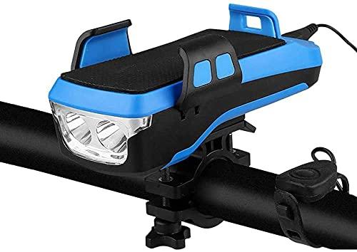 ZLDM 4 In 1 Fahrrad Licht, Fahrradlicht Set USB Aufladbar Led Scheinwerfer, Handyhalterung Fahrrad mit Powerbank, Können Als Fahradlicht, Handyhalterung, Fahrradklingel, Power Bank