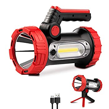 Rechargeable Spotlight 6000Lumens LED Spotlight Flashlight 6 Modes Bright Handheld Large Flashlight with Tripod & Mobile Charger Waterproof Searchlight for Camping Outdoor Hunting Emergency as Gift